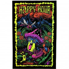 Happy Hour Black Light Mushroom Poster 23X35