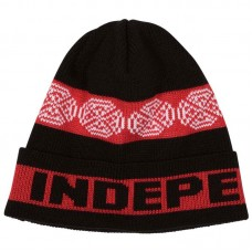 Independent Woven Crosses Beanie Black Red White