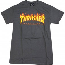 Thrasher Flame S/S T-shirt MED Charcoal Yellow Red